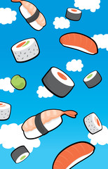 Sushi rain from the sky
