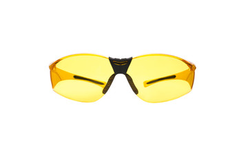 Yellow safety glasses isolated on white.
