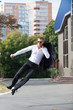 Happy Business Man Jumping in Air
