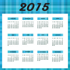 Blue Plaid & WhiteYearly Calendar for 2015