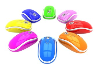 Set of colored mouse