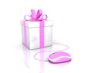 Blu Gift Box with pink Ribbon Isolated