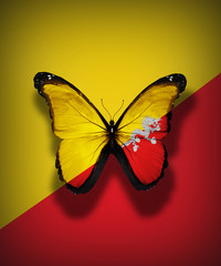 Bhutan flag butterfly, isolated on flag background