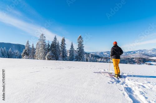 Skier on track in winter landscape, Beskid Mountains, Poland