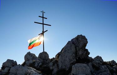 Bulgarian flag and cross