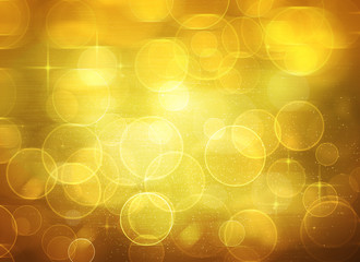 Golden background with bokeh and stars