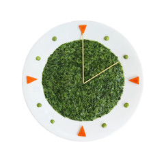 Food clock - plate with creamed spinach