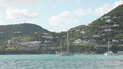 Sailboat near the coast of St Kitts in the Caribbean