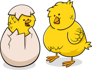 easter chicks cartoon illustration