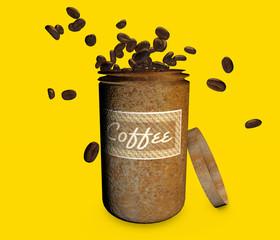 Barattolo contenitore chicco di caffè