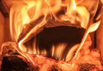 firewood burning in a stove