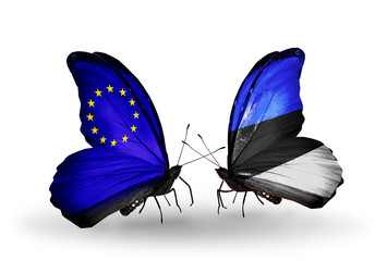Two butterflies with flags EU and Estonia
