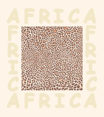 Background texture leopard and with text Africa