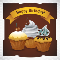 happy birthday cupcake vector graphics