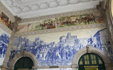 Azulejo panel in Sao Bento Railway Station in Porto, Portugal