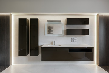 Bathroom interior, composition with furniture