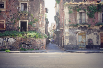 Two abandoned houses. Catania.