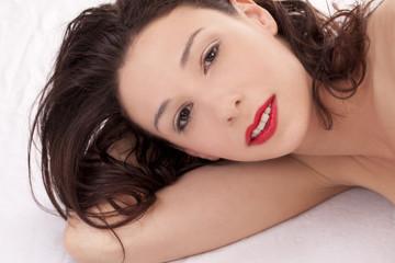 Reclining Portrait Skinny Attractive Caucasian Woman Bare