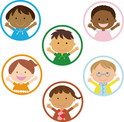 six frames of children