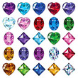 Set of 25 icons colored gemstones - 75436156