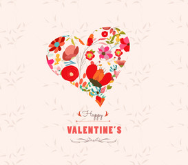 happy valentines day with heart  flowers Floral background
