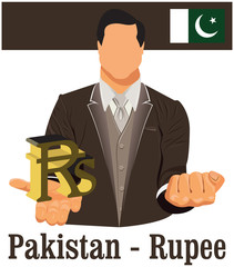 Pakistan national currency symbol Rupee representing money and F