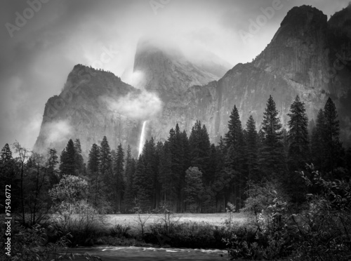 Foto op Canvas Natuur Park Black and White Bridalveil Falls