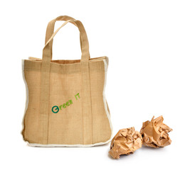 Shopping bag made out of recycled Hessian sack with forming over