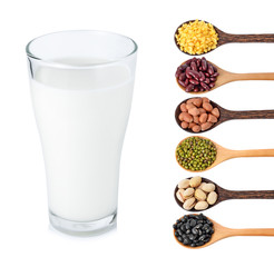 Glass of milk and  Beans  on white background