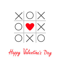 Tic tac toe game cross heart sign Valentines day card Red Flat
