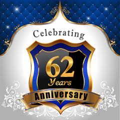 celebrating 62 years anniversary, sheild with royal emblem