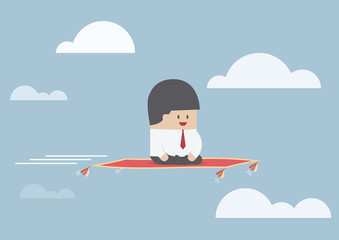 Businessman sitting on the flying carpet