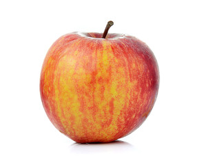 Red ripe apple on white background