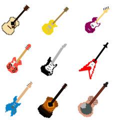Vector Pixel Art Guitar Collection