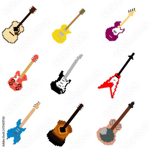 Vector Pixel Art Guitar Collection - 75439763