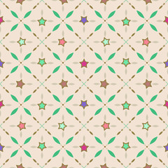 Seamless retro pattern with stars and geometrical elements