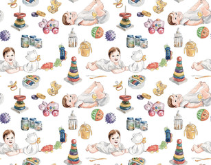 Baby seamless. Newborn objects & food. Toys.