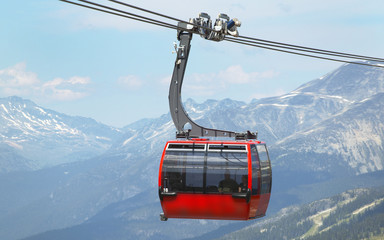 Chair lift and mountains in Whistler. Vancouver. Canada