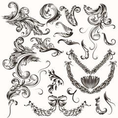 Collection of antique hand drawn swirls