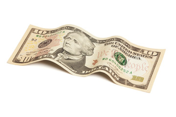 Ten dollar bill isolated with clipping path