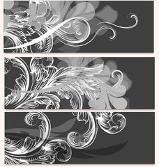 Collection of business cards with ornament
