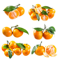 set of fresh tangerines with leafs