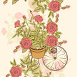 Seamless wallpaper pattern with hand drawn roses