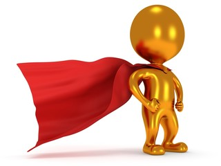 Brave gold superhero with red cloak