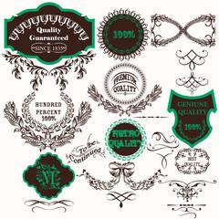 Vector set of vintage labels for design