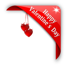 """Red corner with  the words """"Happy Valentine's Day"""" - vector svg"""