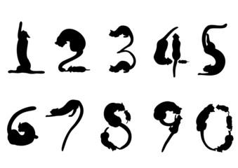 猫のシルエットの数字