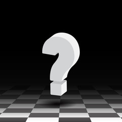 3D question mark on a background of the chess floor