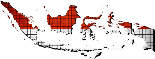 Indonesia map with flag inside