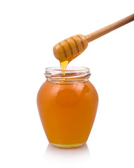 Honey drops in jar